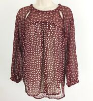 Nordstrom Elodie Peasant Blouse Mixed Print Maroon Floral Cut Out Sheer Small