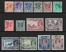 1938 KGVI SG18 to SG31 2 Rs. Set of 14 Stamps Fine Used BURMA