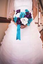 """10""""Round rose Bouquet - Turquoise Purple White.Wedding silk flower"""