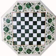 Chess Game Table Top malachite Inlay Handmade Semi Precious Stone Work