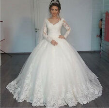 Elegant Lace Wedding Dresses with Long Sleeves Custom-Made Bridal Veil for Free