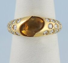 Chaumet Orange Citrine Diamond Solid 18k Yellow Gold Ring