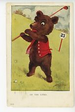 """""""On the Links"""" Teddy Bear Playing GOLF Antique Golfing MDS Artist-Signed 1910s"""