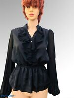 River island black Shirt Blouse Size 10  FRILL FRONT governess witchfest