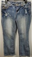 Rue 21 Capris Distressed Blue Denim w/Stitching Design Pockets Womens Size 7/8