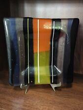 Glass Decorative Dish, Morano ?, Navy, Orange Blue Yellow, Hand Made