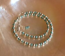 3mm Turquoise and 3mm Sterling Silver Bead Ankle Bracelet 7 to 9 Inches