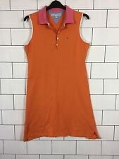 Damen Urban Vintage Retro orange Tommy Hilfiger Ärmellos Polo Kleid Gr. XL