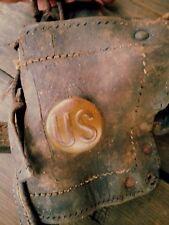 Militaria US Military Horse Blinders Heavy Leather  Bridle primitive Antique