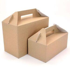 Gable Gift Box Party Picnic Favour Kraft Brown/White BULK Large & Small Sizes