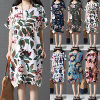 UK 8-24 Women Floral Printed Short Sleeve Casual Midi Shirt Dress Tunic Kaftan