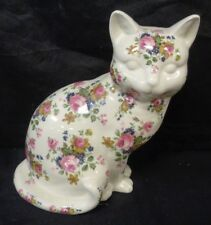 "STAFFORDSHIRE IRONSTONE CAT (LAYING DOWN) FIGURINE FLORAL DESIGN  10""  (TR)"