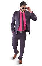 Slim Fit 2 Button Vest Optional Peak Lapel Windowpane Plaid Suit Azar Purple1698 Long 38 Jacket 32 Waist 34 Length 2 Piece No Vest