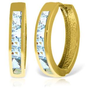 Genuine Princess Cut Aquamarine Huggie Hoops Earrings 14K Yellow Gold