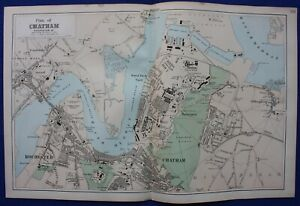 CHATHAM PLAN, STREET PLAN, ROCHESTER, MEDWAY, original antique map, Bacon, 1884