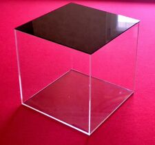 Tisch Vitrine Würfel Acryl Glas Box mit schwarzem Deckel Schaukasten 30 cm