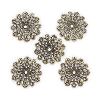 10 Pcs Bronze Tone Hollow Filigree Round Connnector Embellishments Findings 30mm