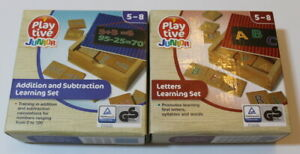 2 set Play Tive Junior Learning Set Letters & Addition & Subtraction Wooden Toys