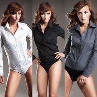Body chemise femme coton mélangé noir blanc gris NIFE K22 36 38 40 42