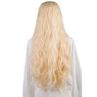 Long Light Blonde Spiral Wavy Synthetic Lace Front Wig Heat Resistant Women Wigs