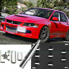 Fit Mitsubishi Lancer Black Front Bumper Tow Hook License Plate Mounting Bracket