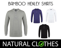 Bamboo T-Shirt Long Sleeve Henley Shirt Top Mens Button Premium Natural Clothes