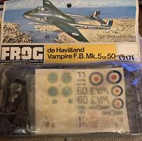 FROG 1/72 Model Aircraft Kit F217F de HAVILLAND Vampire FB Mk 5 Bagged 1971