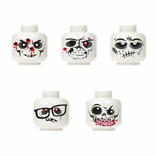 New Custom halloween monster zombie walking dead minifigure head white 5pc set 2