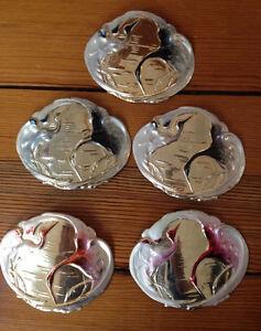 Lot of 5 Vtg CHARMANT Beverly Hills Brass Belt Buckles Pink Black Cranes Set