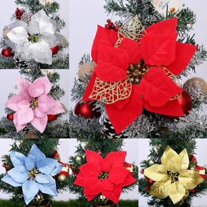 20CM Glitter Xmas Artificial Flowers Christmas Tree Hollow Home DIY Ornament