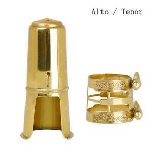 Alto Saxophone Metal Mouthpiece 14k Gold Plated with Ligature and Cap