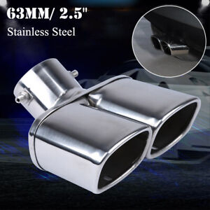 63mm / 2.5 Inch Stainless Steel Chrome Car Dual Exhaust Tip Square Pipe Muffler
