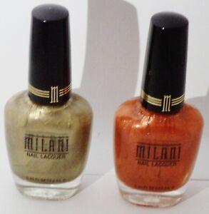 2 Shade Milani Nail Lacquer Nail Polish GOLD DUST #91 & ICED MANGO #34A Sealed