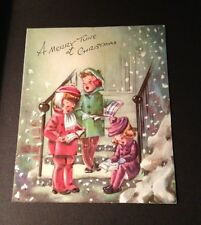 Vtg Christmas Pollyanna Greeting Card Carolers Snow Used Embossed Pop-up