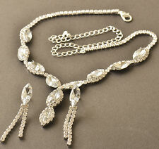 9k Gold Filled Swarovski Crystal Pendant Necklace Chain Earring Set Wedding Prom