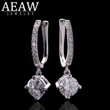 2.0ctw 6.5mm Round Brilliant Cut Moiossanite Engagement Earring 14k Whte Gold VS
