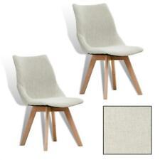 B-Ware Esszimmerstuhl Küchenstuhl 2er Set Retro Essstuhl Stuhl Stoffbezug Beige