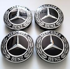 4pcs  BLACK WREATH WHEEL CENTER CAPS MERCEDES BENZ C ML CLS S GL SL E CLK CL GL