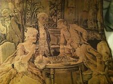 Antique French Tapestry c 1920 w  Salon Chess Players in  Muted Tones
