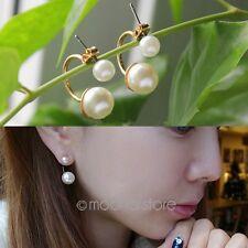 Oferta Un Par Elegante Mujer Sintético Doble Perla Dorado Pendientes Pendientes
