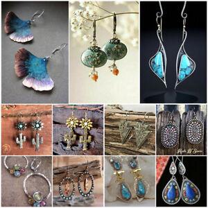 Vintage 925 Silver Turquoise Dangle Ear Hook Boho Hoop Women Jewelry Earrings