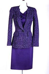 ST.JOHN Womens Suit Knit Purple White Tweed Jacket & Purple Dress Sz 2
