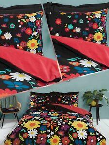 Bedding Heaven® BRIGHTON FLORAL DUVET COVER SET REVERSIBLE - BOLD - BLACK - RED