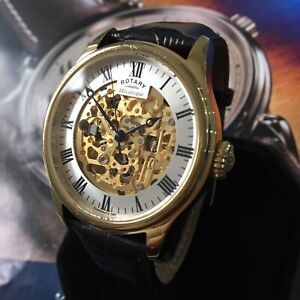 Mens Rotary Watch MECANIQUE Automatic Skeleton Gold Pvd Steel Genuine GS02941/03