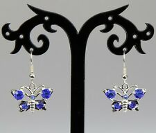 Royal blue rhinestone silver alloy butterfly earrings, silver-plated hooks