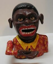 Cast Iron Black Man Mechanical Bank Red and Yellow Shirt Metal Stopper Vintage