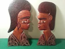 Vintage hand carved Wood Tribal St Maarten Souvenir heads