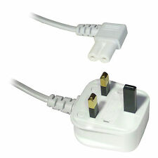 1M Figure Fig of 8 IEC C7 Mains Power Lead Cable - Right Angled Angle - WHITE