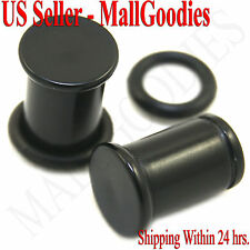 0934 Black Acrylic Single Flare Ear Plugs 0 Gauge 0G 8mm MallGoodies One 1 Pair