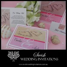 2 Hearts in the Sand Beach Luxury Engagement Wedding Invitations - Sample DL